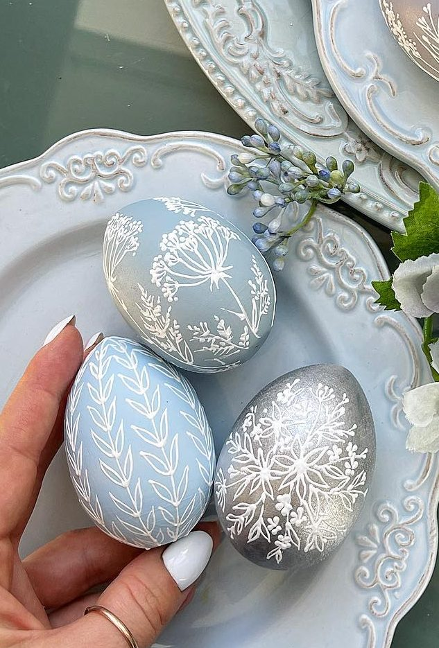 Pastel blue and silver Easter egg designs for adults
