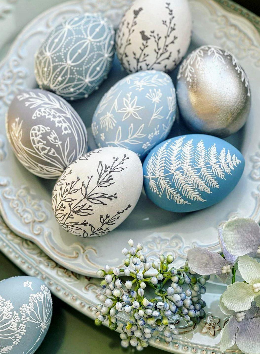 Pastel blue Easter egg designs for adults
