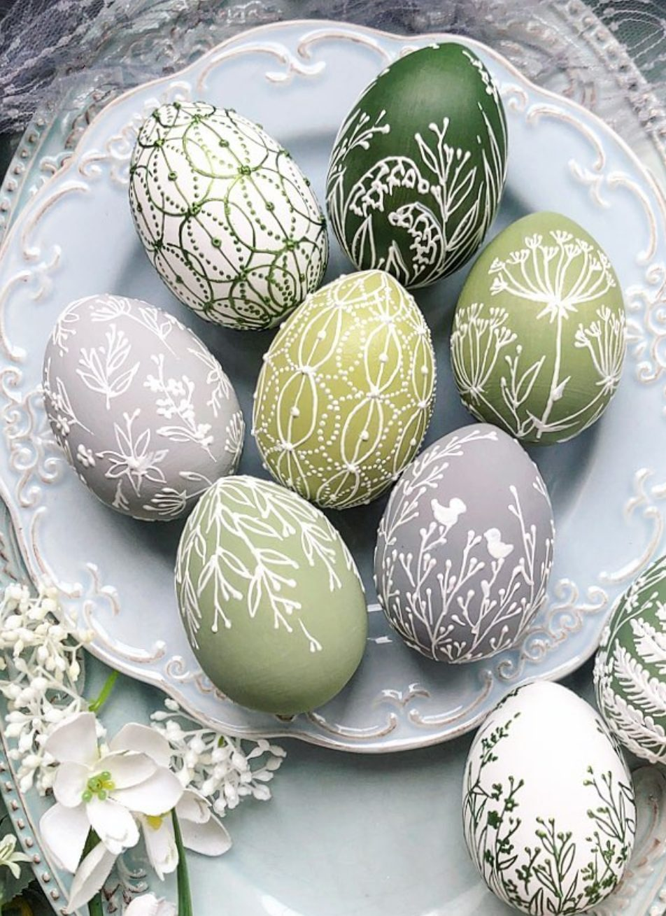 Pastel green painted Easter eggs
