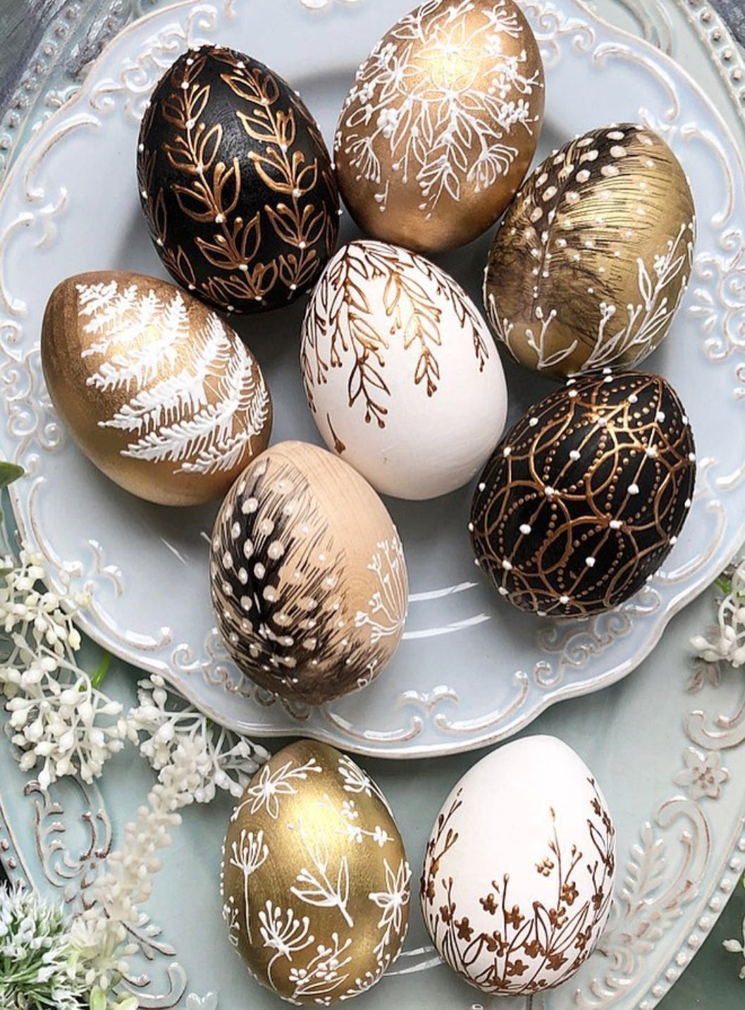 Black and gold creatively painted Easter eggs