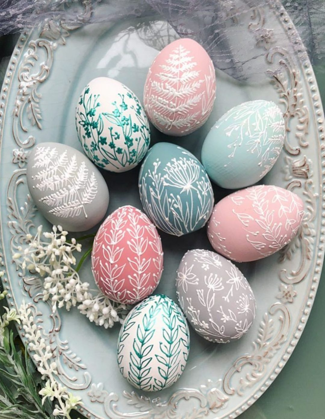 Pastel pink and blue Easter egg decor