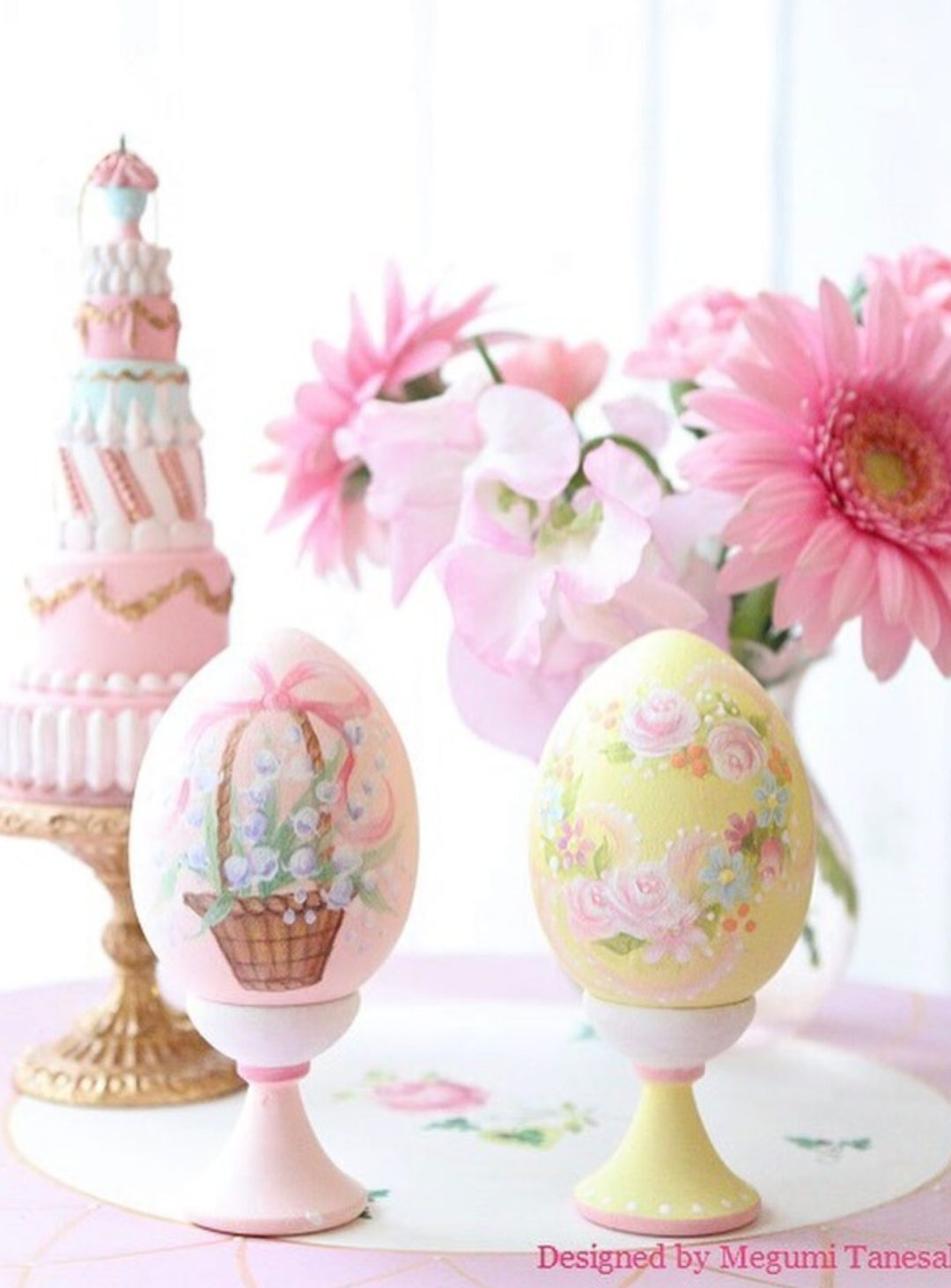 Pink and yellow pastel Easter eggs