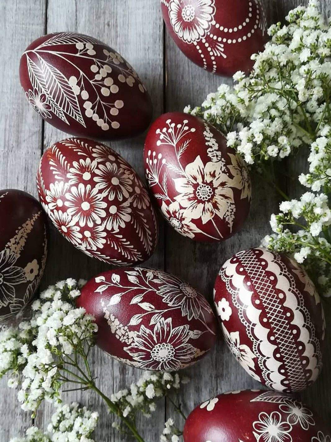 Burgundy Easter eggs with intricate pattern