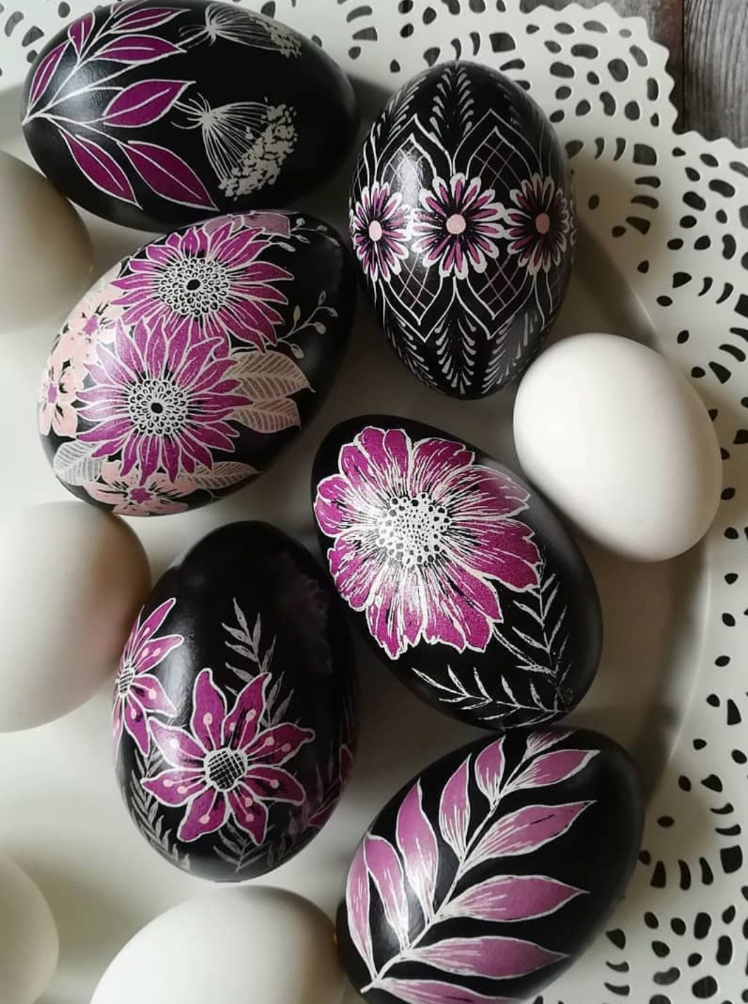 Black and pink Easter egg decorating ideas for adults
