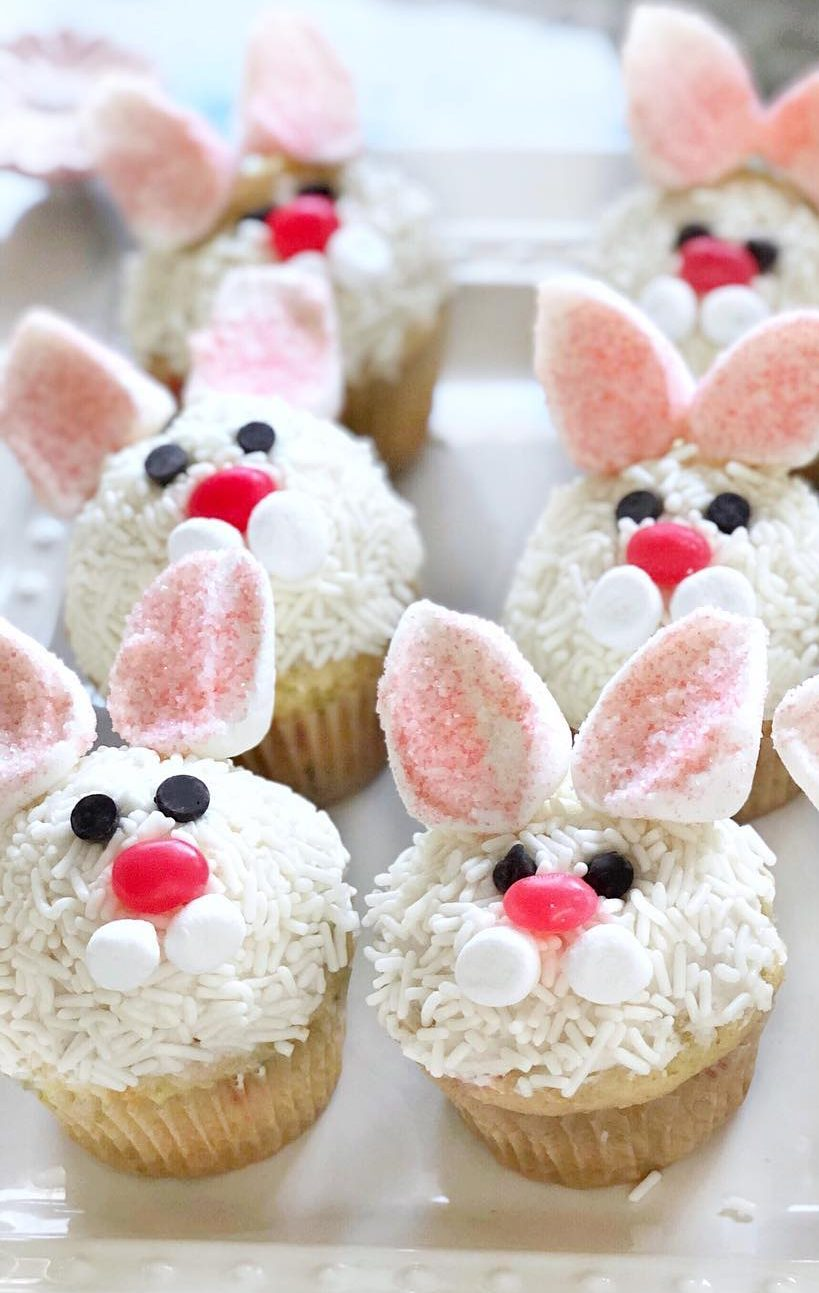 Easter Bunny Cupcakes With Candy