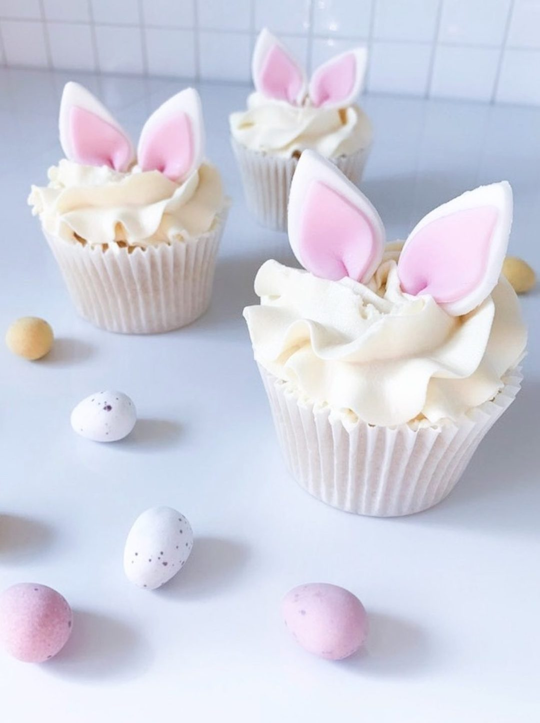 Bunny Ears Cupcakes With Frosting