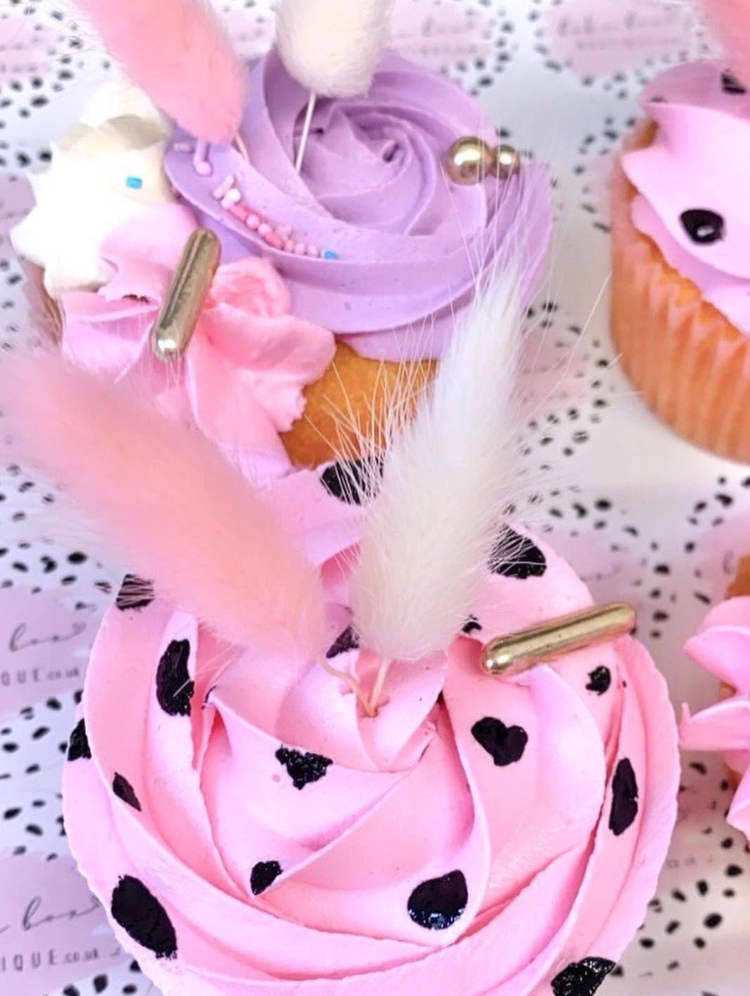 Pink And Purple Dalmatian Dot Cupcakes