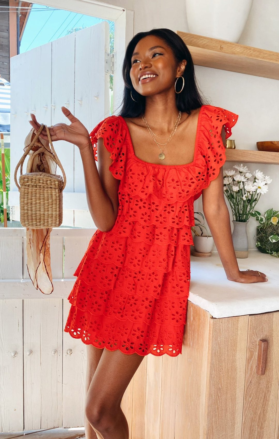 Red cottagecore fashion