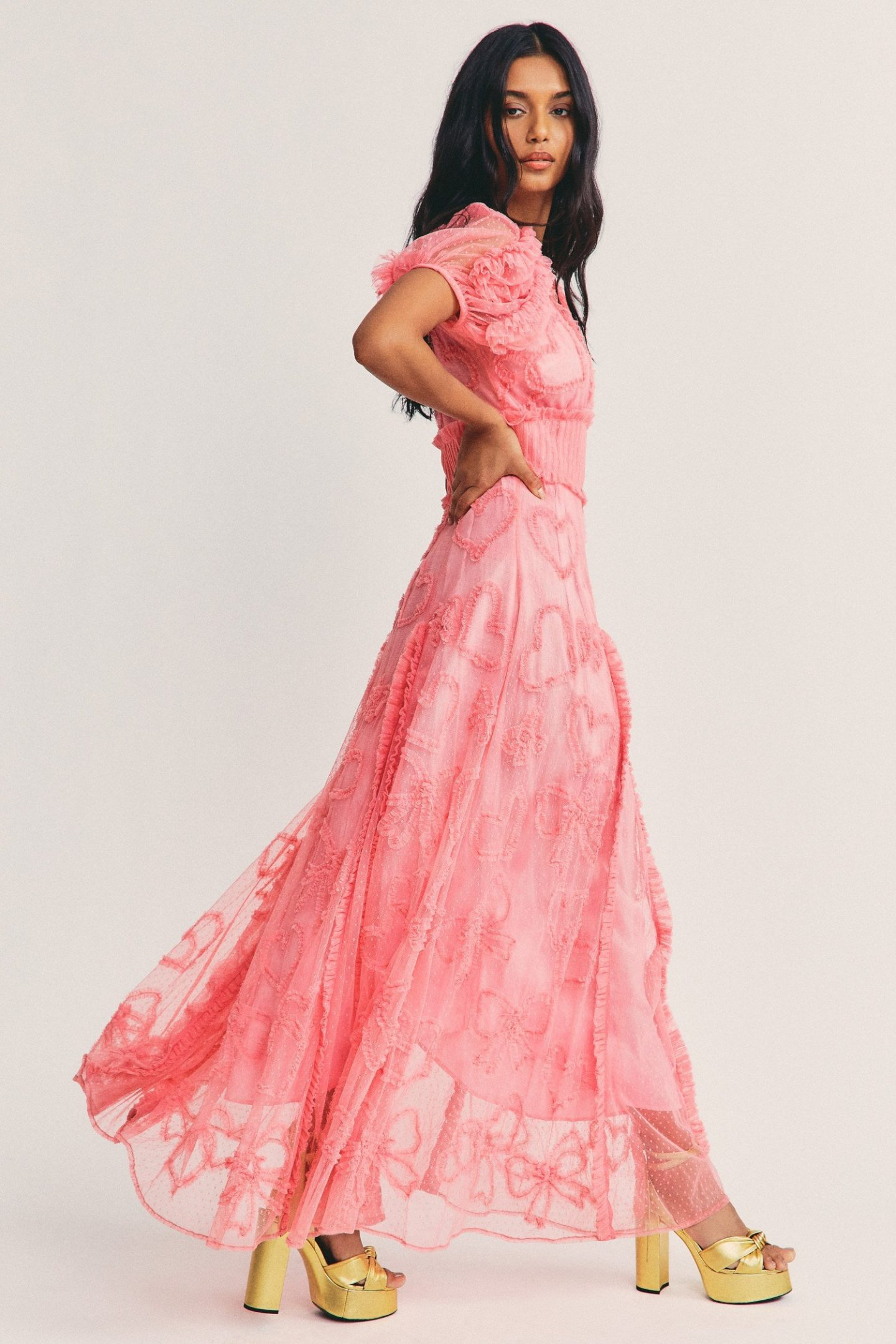 Pink cottagecore maxi dresses with hearts