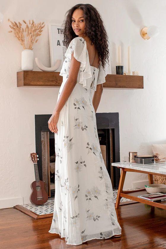 White floral cottagecore maxi dresses