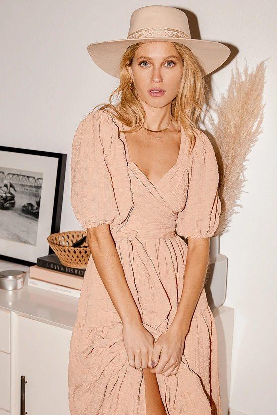 Boho beige cottagecore maxi dresses