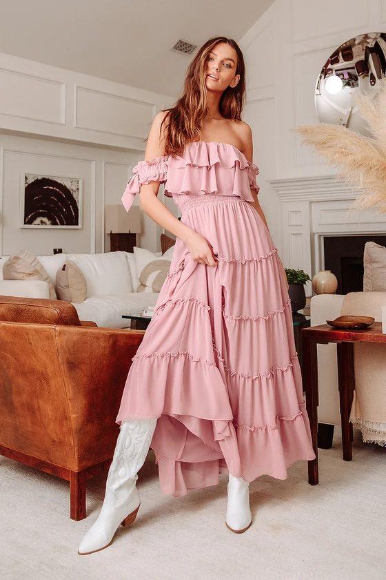 Pink cottagecore maxi dresses