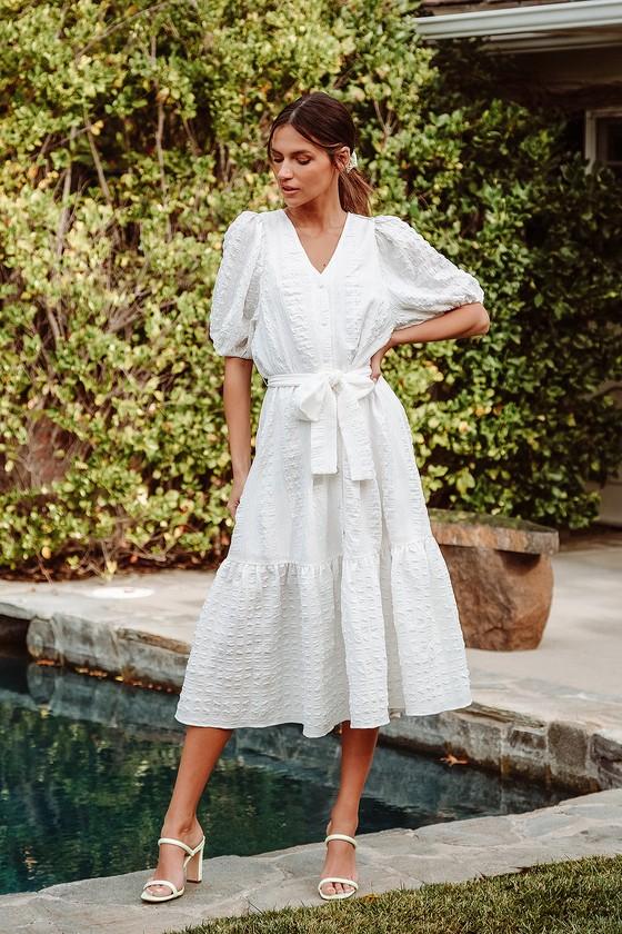 White cottagecore maxi dresses