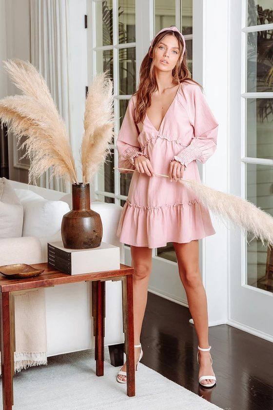 Pink cottagecore ruffle dress