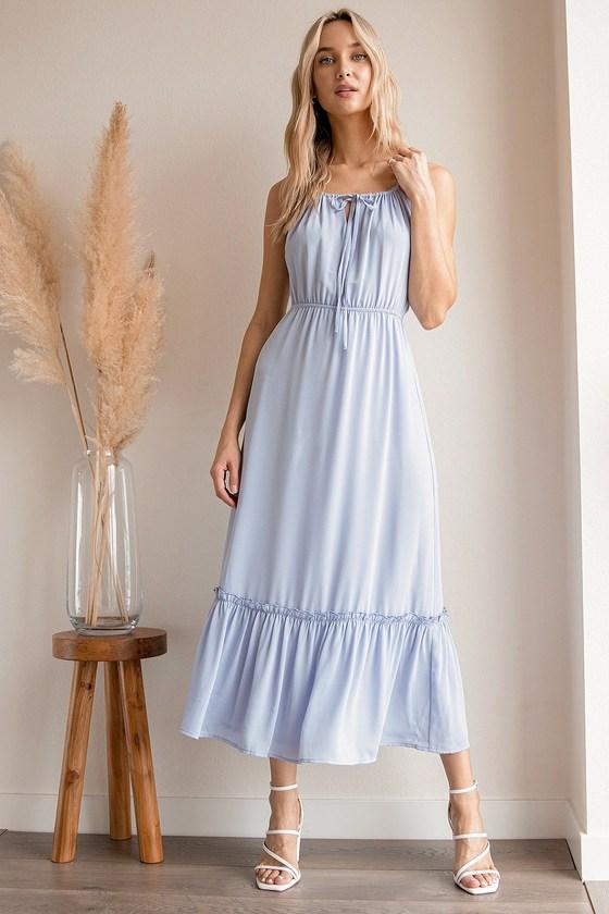 Light blue cottagecore maxi dresses