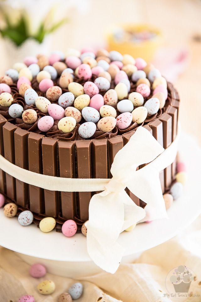 Kit Kat Easter Chocolate Cake With Cadbury Cream Egg Filling And Mini Eggs