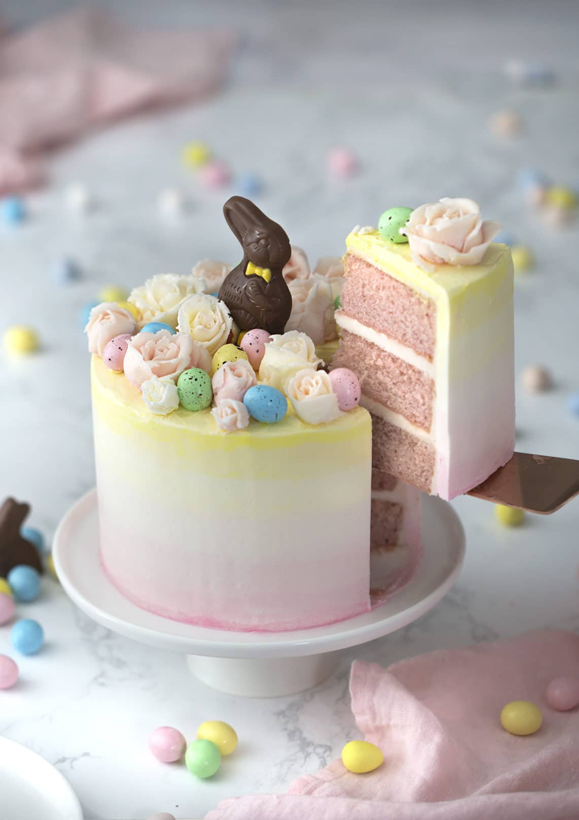 Pastel pink and yellow Easter Bunny Cake