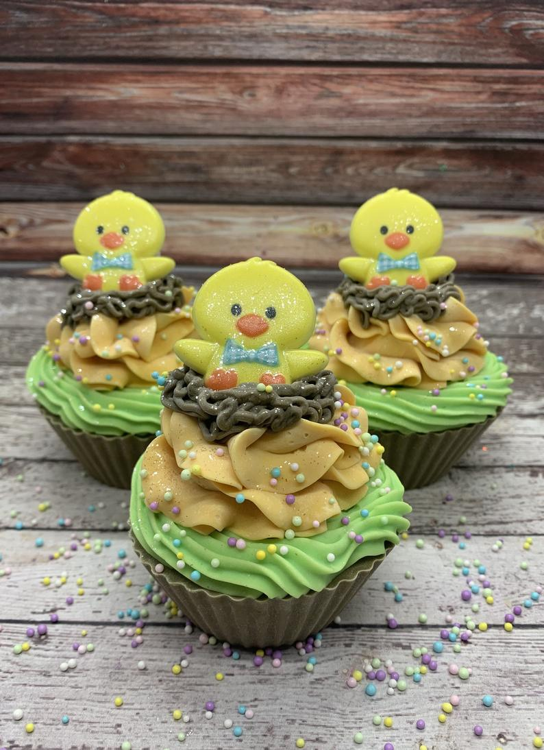 Faux Easter Cupcakes For Home Decor With Chick