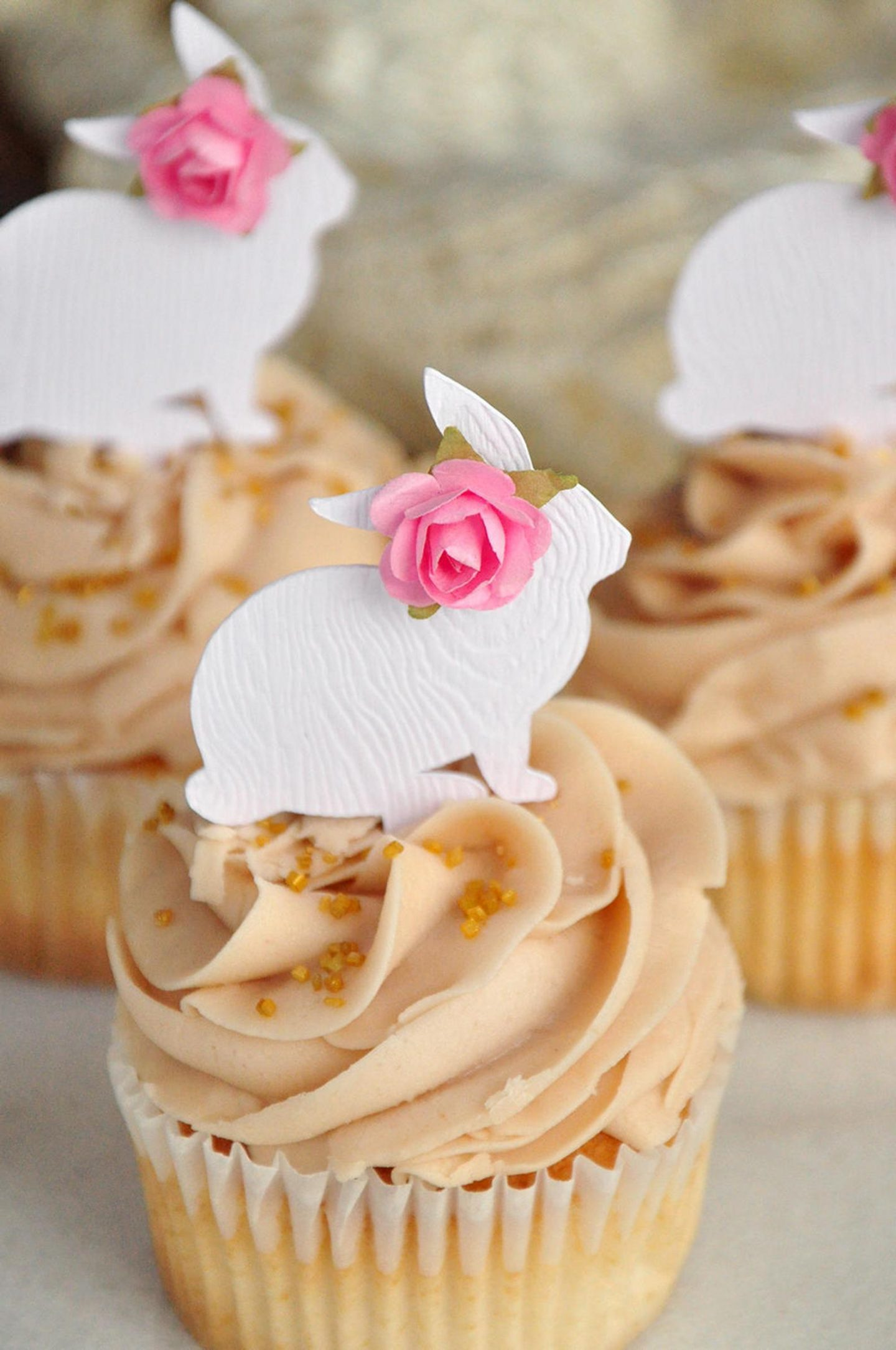 White Easter Bunny Cupcake Toppers