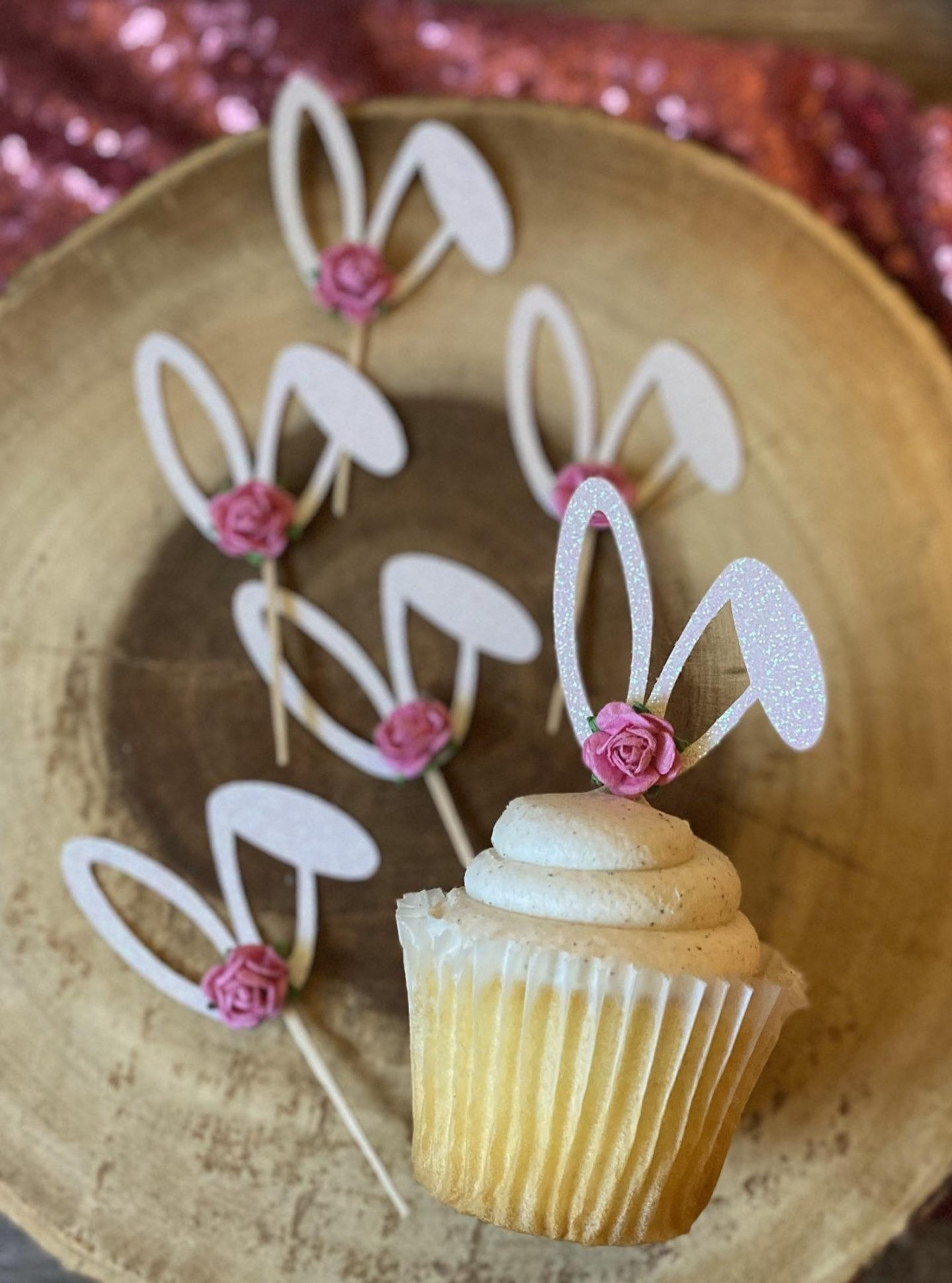 Easter Bunny Cupcake Toppers With Rose