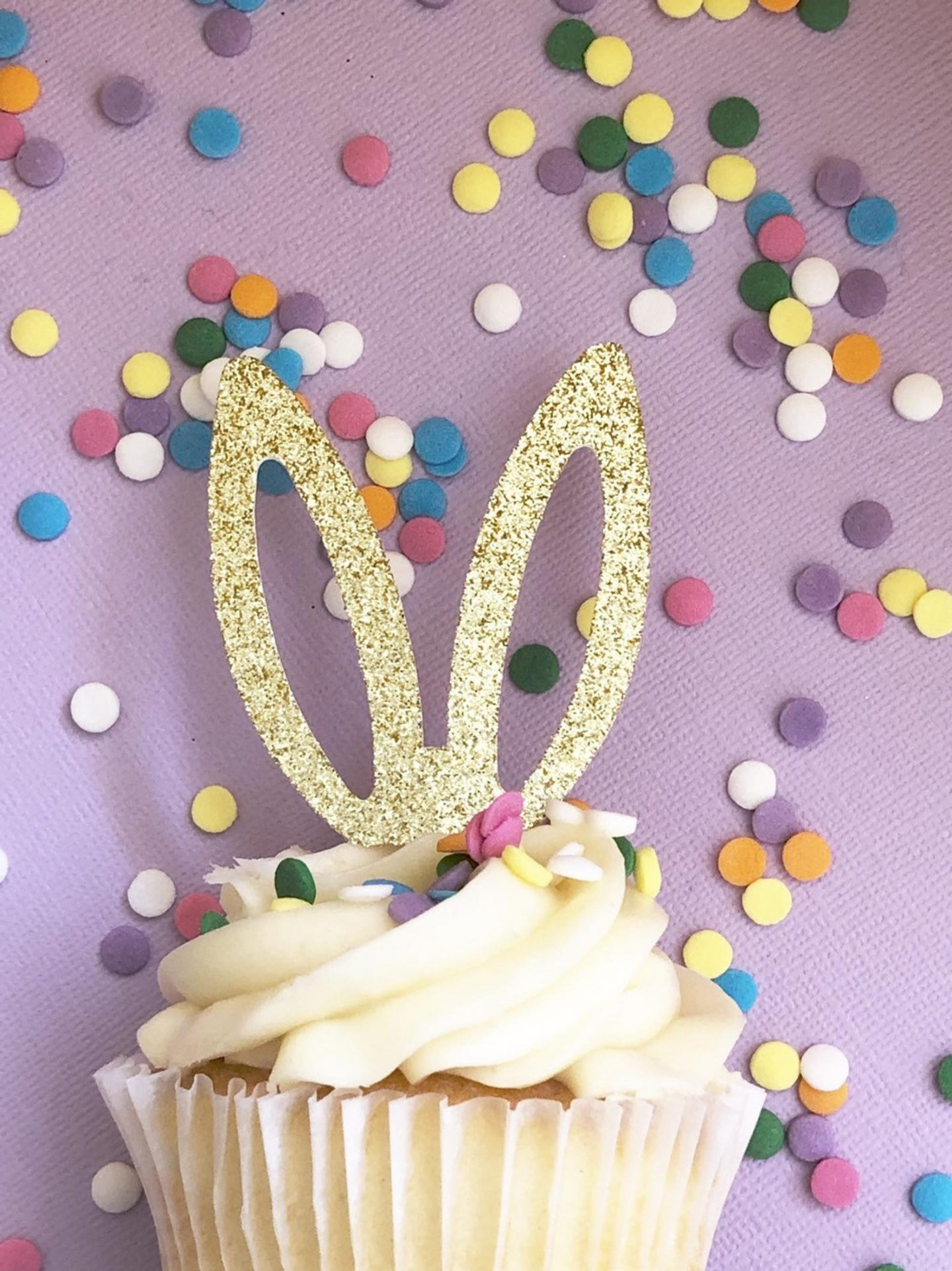 Gold Easter Bunny Cupcake Toppers