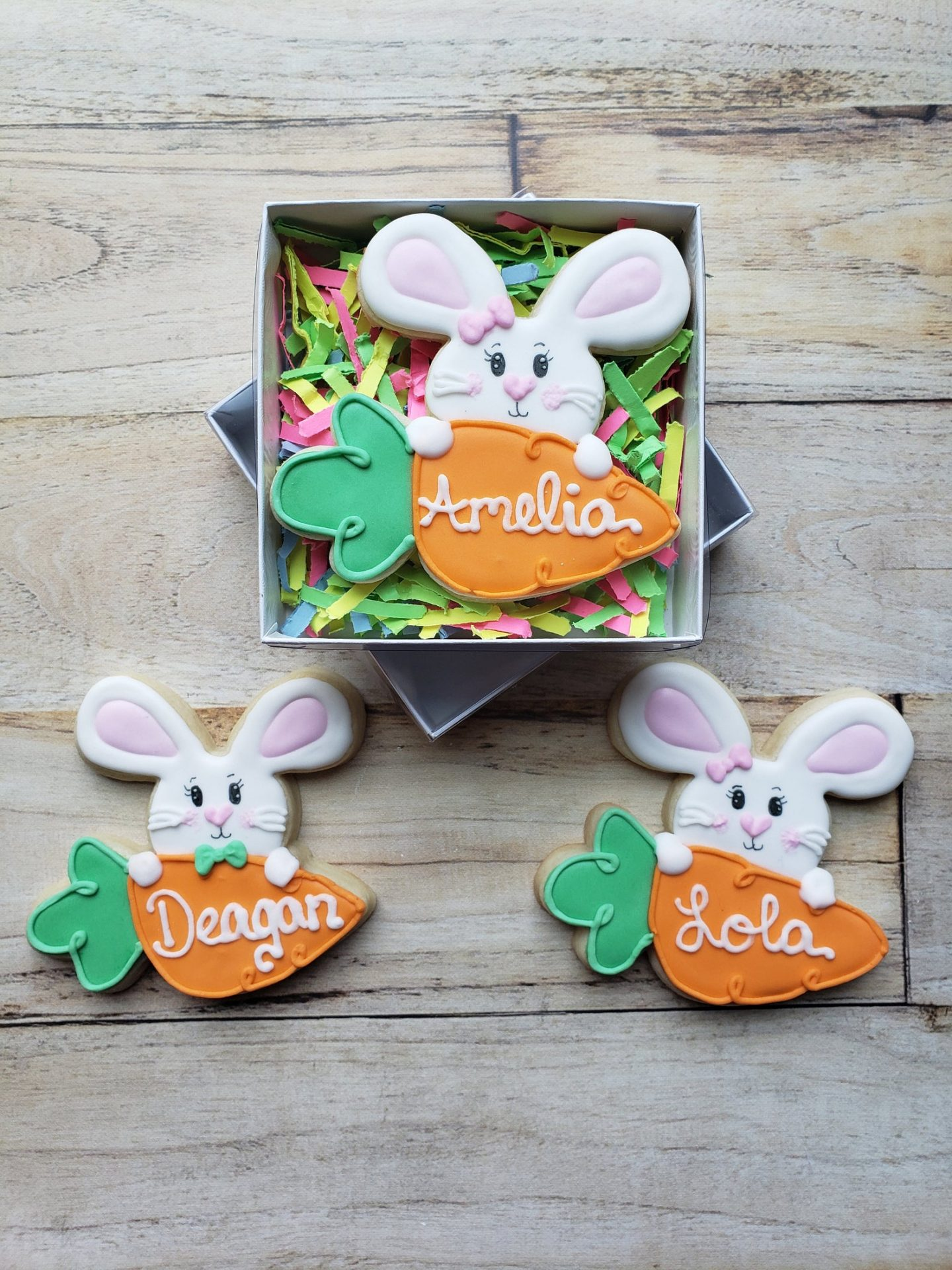 Cute Personalized Bunny & Carrot Cookies For Easter