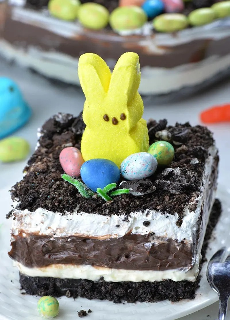 Easter Chocolate Lasagna With Peeps Bunny