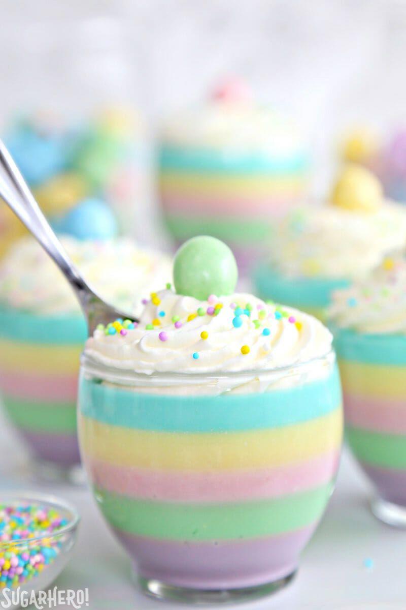 Pastel Rainbow Gelatin Cups