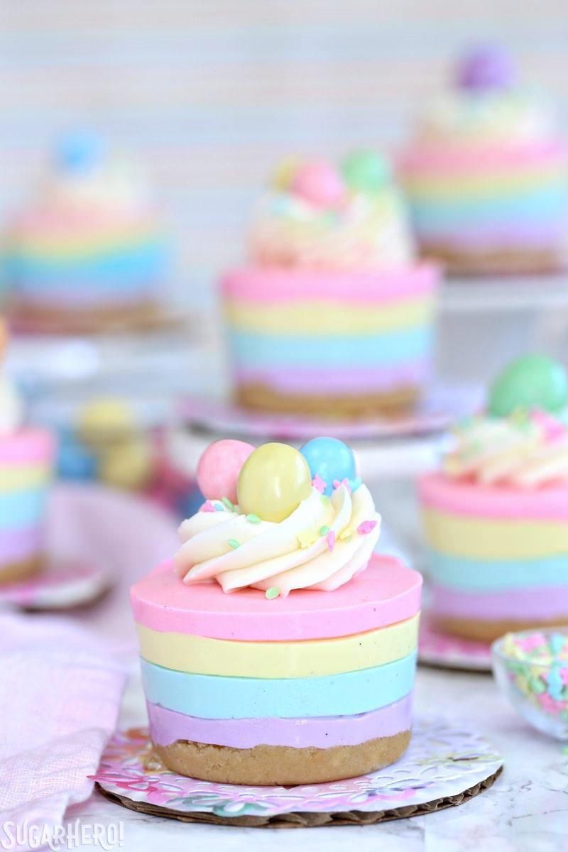 Pastel Rainbow Easter No-Bake Mini Cheesecakes