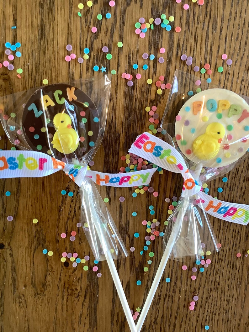 Personalized Easter Chocolate Lollipops With Chick