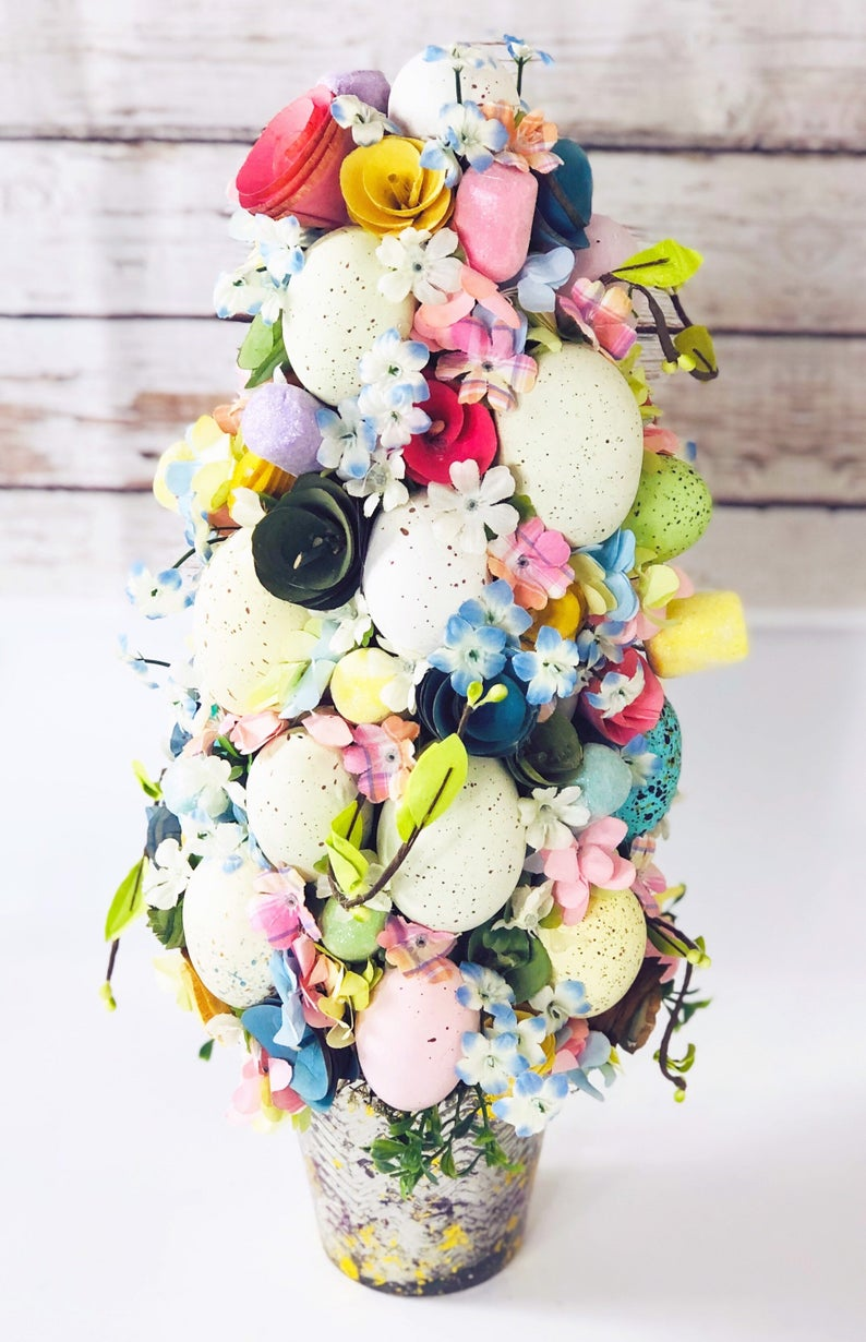 Easter topiary tree with eggs