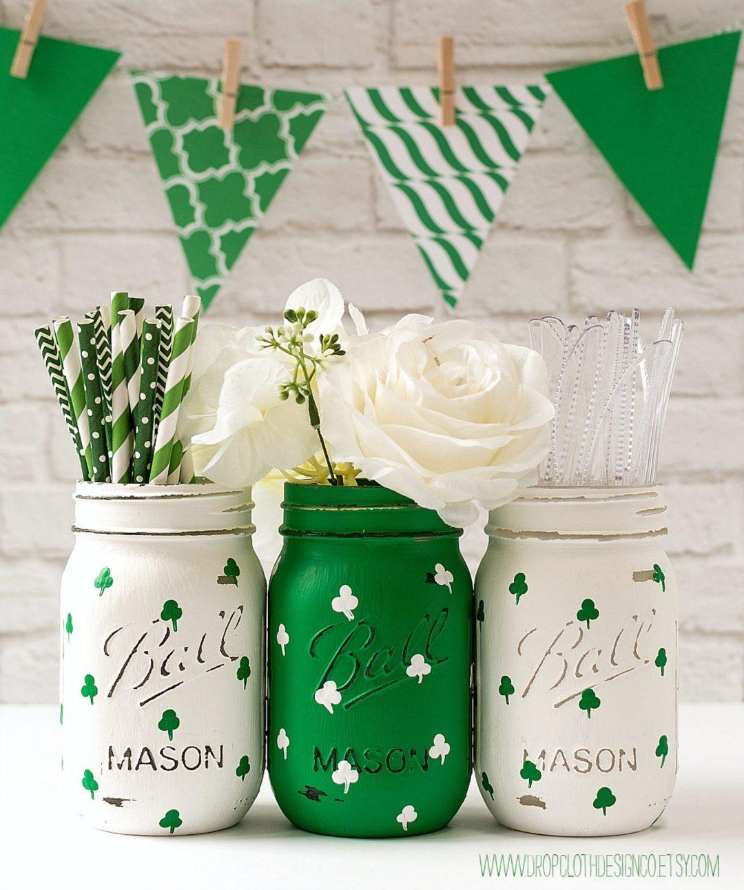 St. Patrick's Day decor ideas - St. Patrick's Day mason jars
