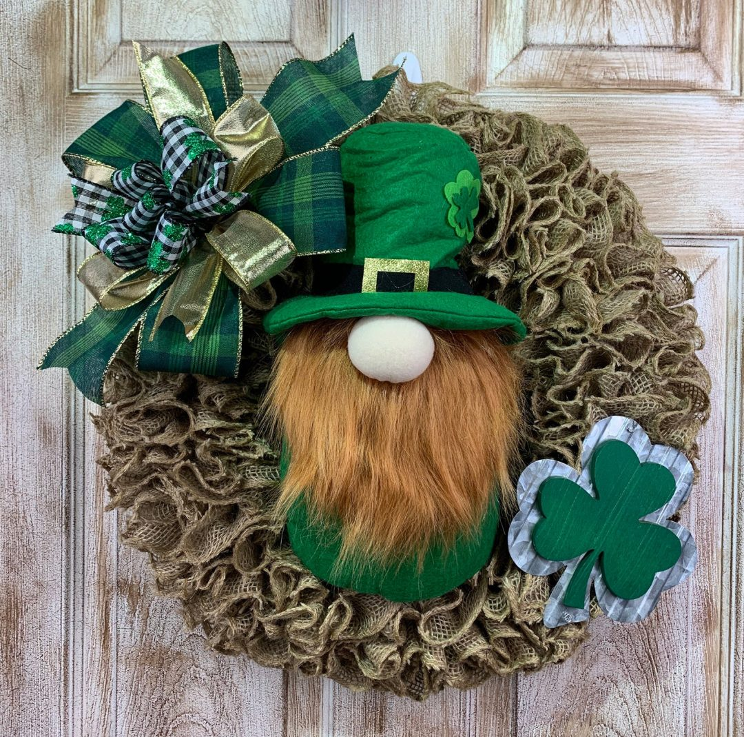 St. Patrick's Day wreath with a leprechaun and shamrock