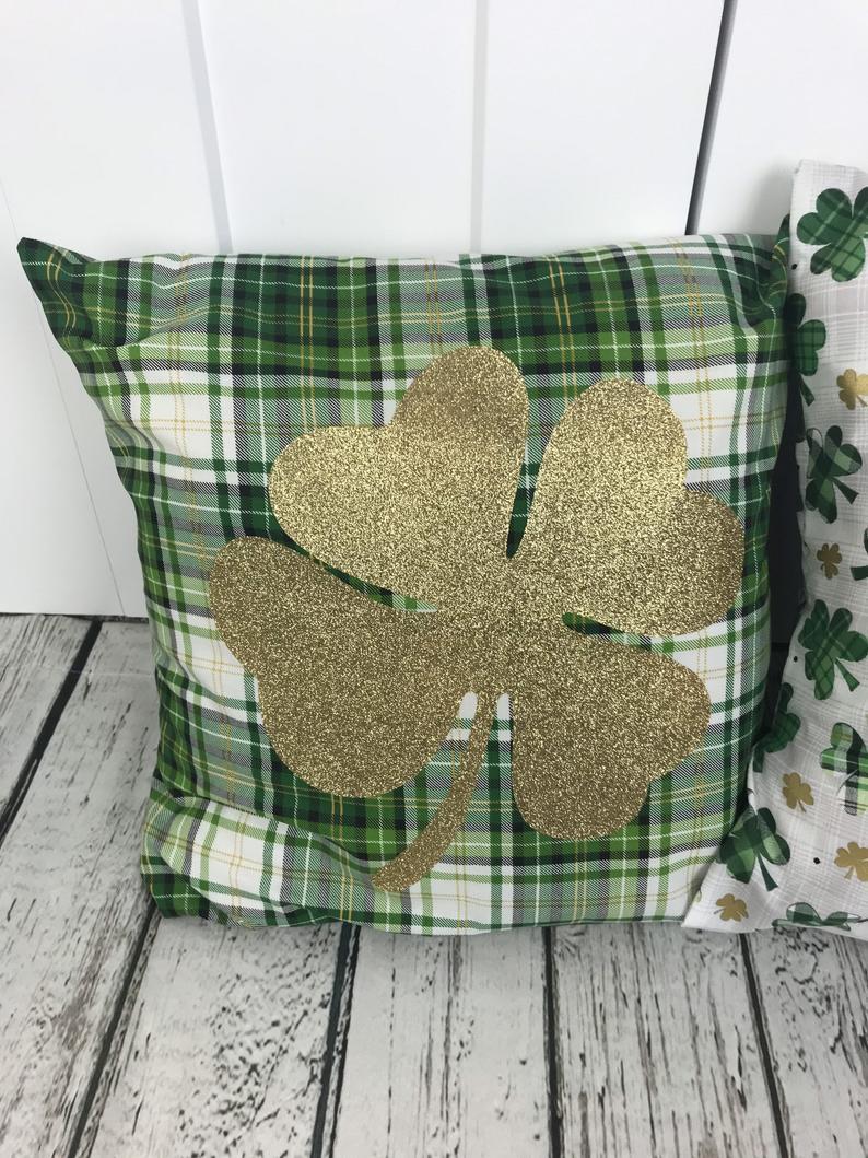 St. Patrick's Day decor ideas - shamrock cushion covers