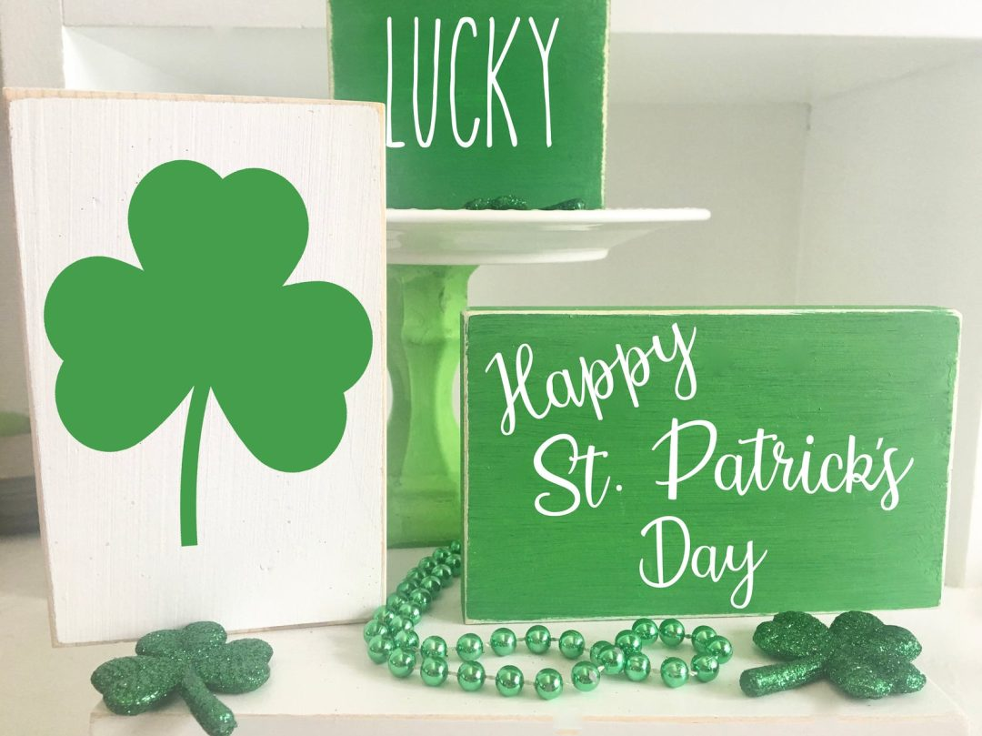 St. Patrick's Day decor ideas - green wooden blocks