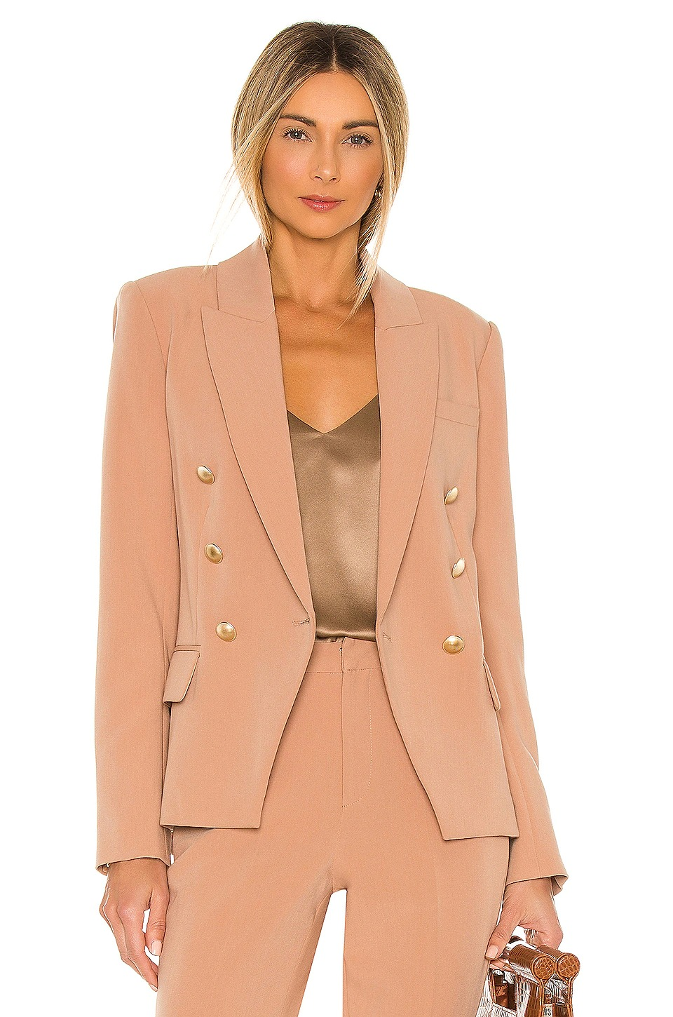 Camel blazer and trouser suits for female wedding guests