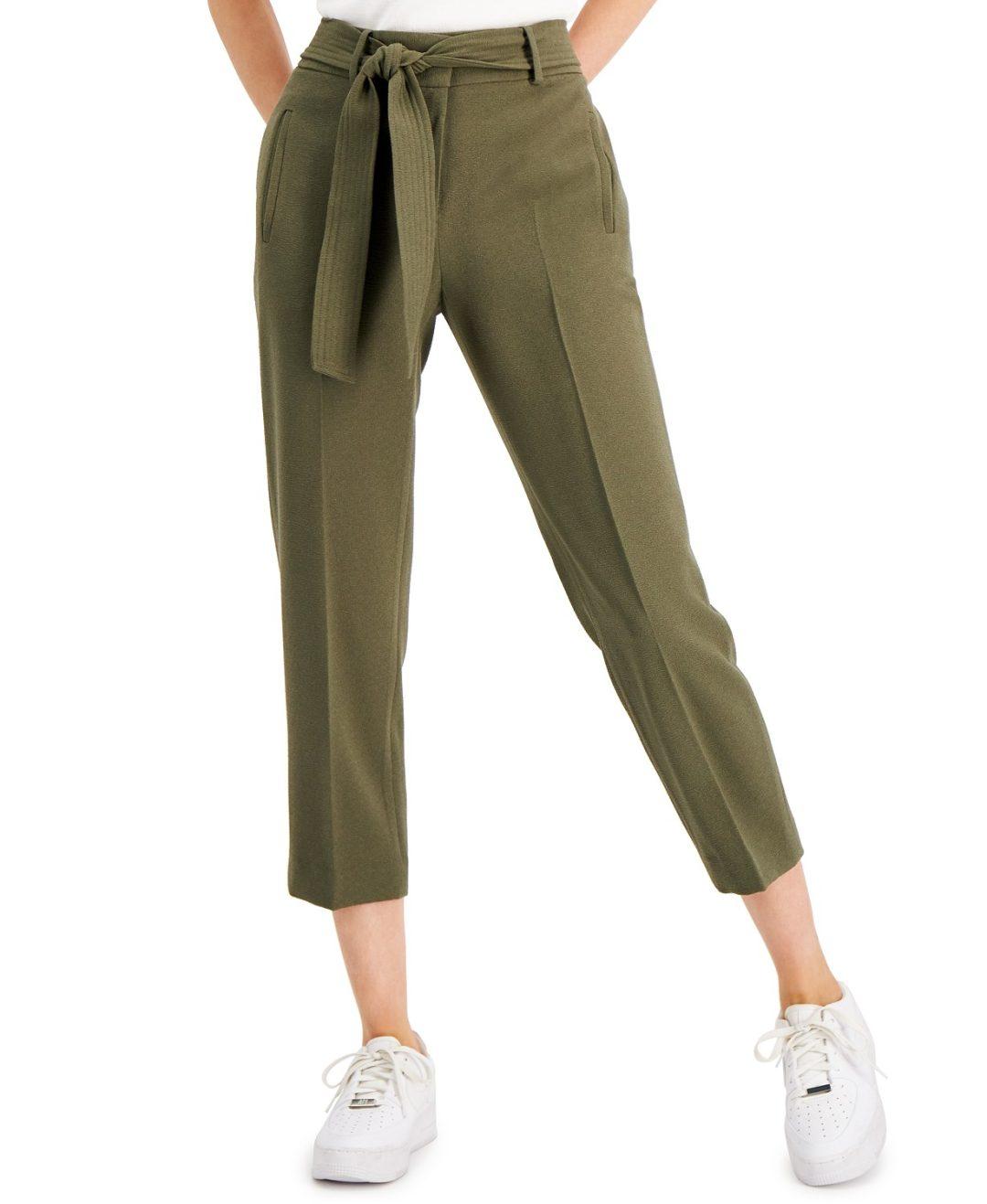 Khaki green cropped pants