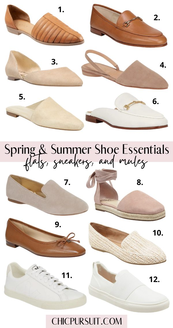 Spring shoes and summer shoes essentials: flats, sneakers and mules