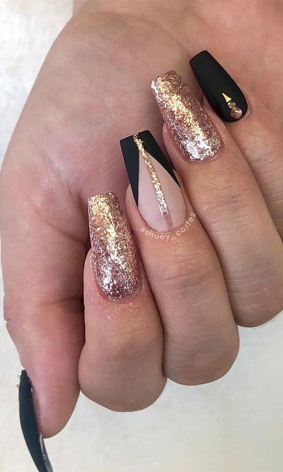 Gold foil and black matte nails