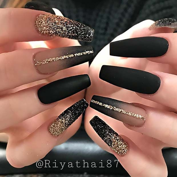 Black and gold glitter ombre nails