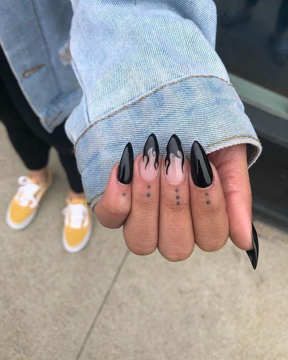 Black flame nail art