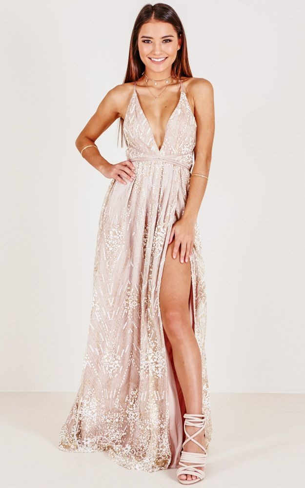 Blush pink beaded prom dress with split