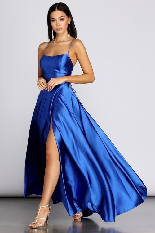 Satin blue prom dress with slit