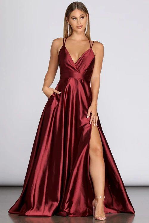 Satin red burgundy prom dress with slit