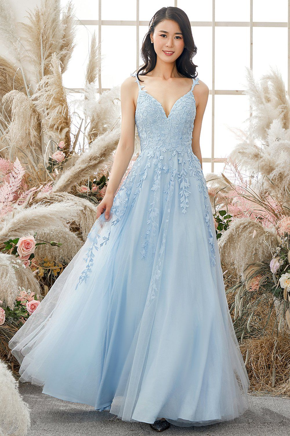 Light blue prom dress with embroidery