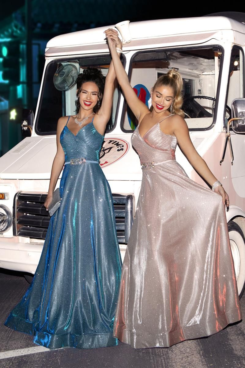 Sequin holographic prom dresses in blue and blush pink