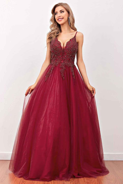 Burgundy long beaded dress with chiffon