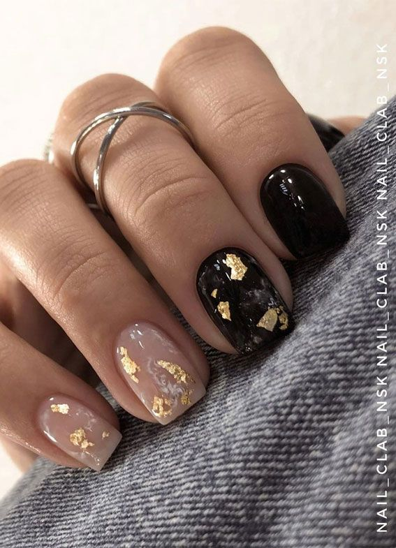 Short nude and black gold foil nails