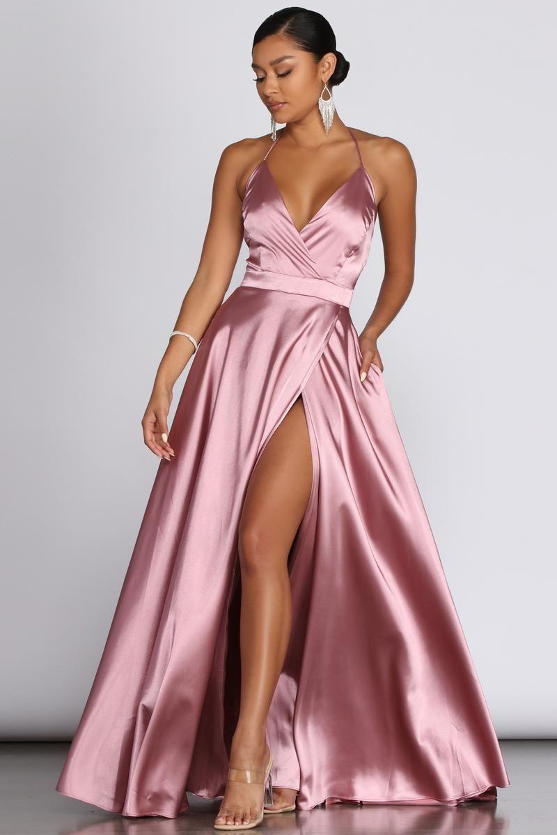 Satin pink halter neck prom dress with slit