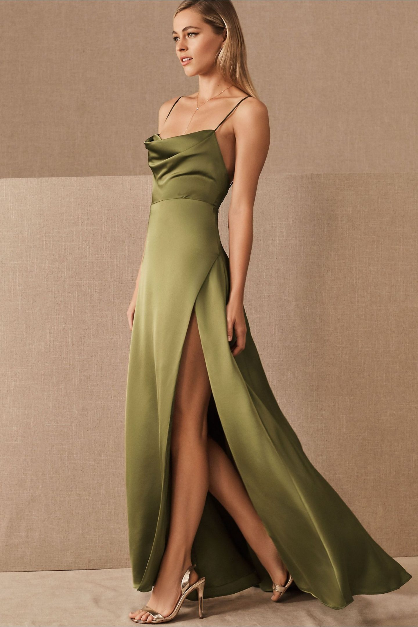 Olive green prom dress with slit